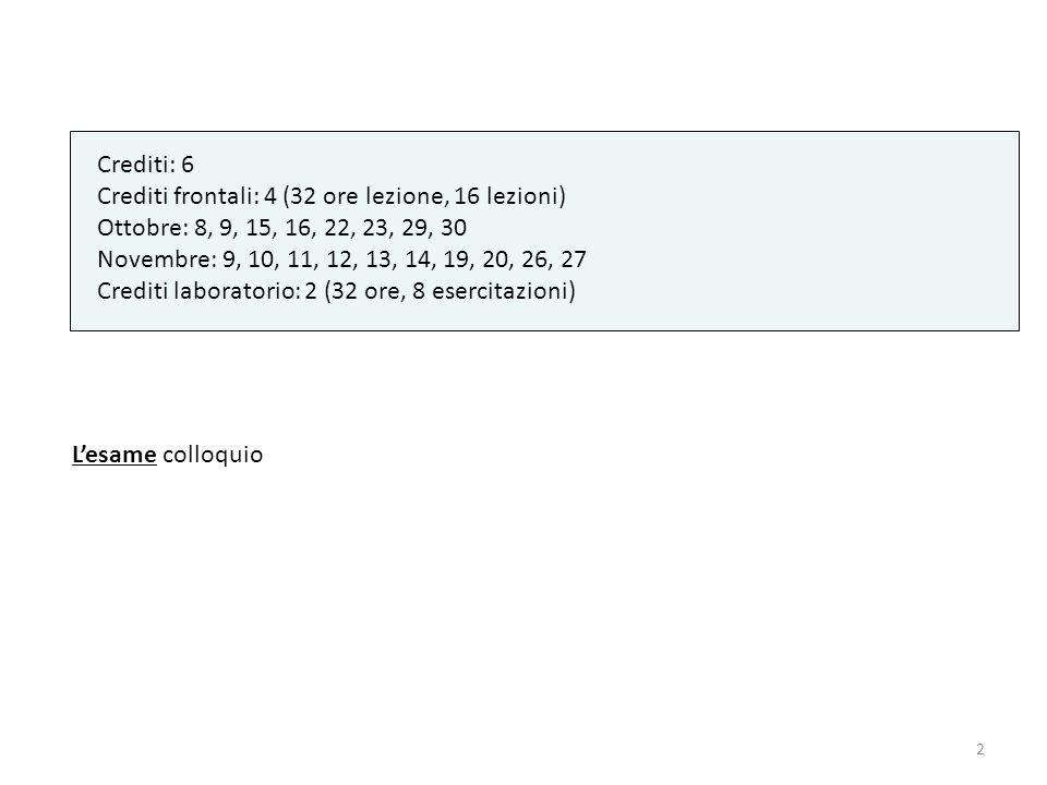 2 Crediti: 6 Crediti frontali: 4 (32 ore lezione, 16 lezioni) Ottobre: 8, 9, 15, 16, 22, 23, 29, 30 Novembre: 9, 10, 11, 12, 13, 14, 19, 20, 26, 27 Cr