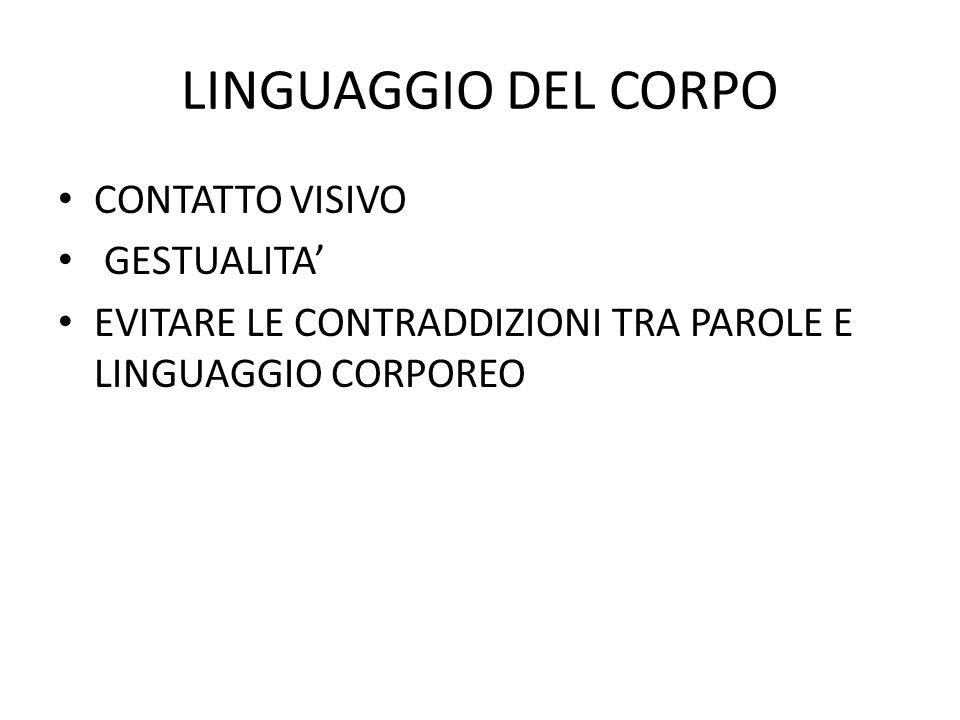 LINGUAGGIO DEL CORPO CONTATTO VISIVO GESTUALITA EVITARE LE CONTRADDIZIONI TRA PAROLE E LINGUAGGIO CORPOREO