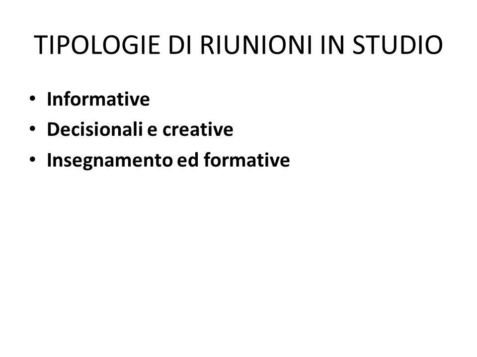 TIPOLOGIE DI RIUNIONI IN STUDIO Informative Decisionali e creative Insegnamento ed formative