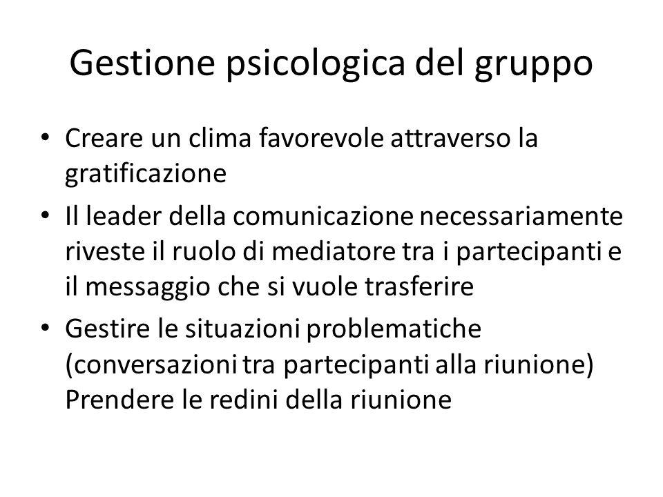 Gestione psicologica del gruppo Creare un clima favorevole attraverso la gratificazione Il leader della comunicazione necessariamente riveste il ruolo