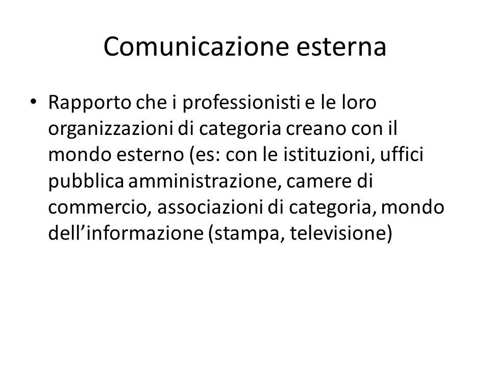 Comunicazione esterna Rapporto che i professionisti e le loro organizzazioni di categoria creano con il mondo esterno (es: con le istituzioni, uffici