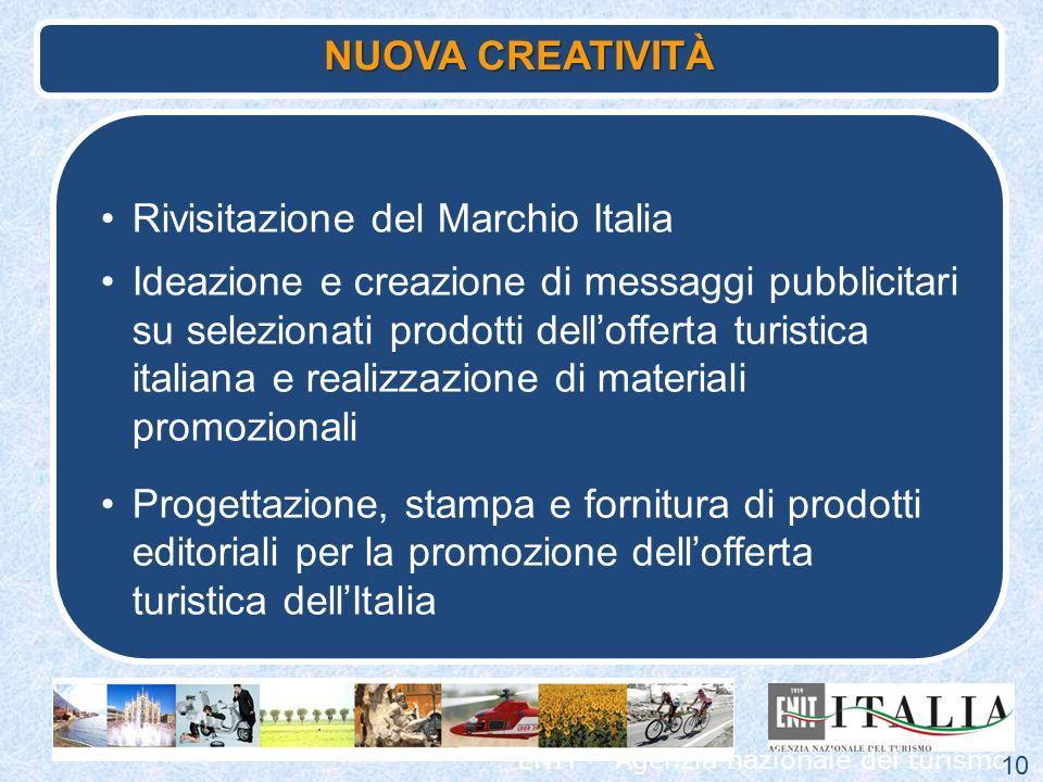 ENIT – Agenzia nazionale del turismo Rivisitazione del Marchio Italia Ideazione e creazione di messaggi pubblicitari su selezionati prodotti delloffer