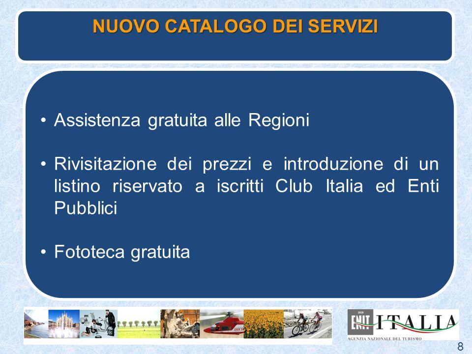 Assistenza gratuita alle Regioni Rivisitazione dei prezzi e introduzione di un listino riservato a iscritti Club Italia ed Enti Pubblici Fototeca grat