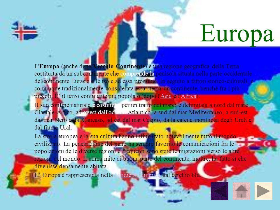 Europa L'Europa (anche detta Vecchio Continente) è una regione geografica della Terra costituita da un subcontinente che comprende la penisola situata