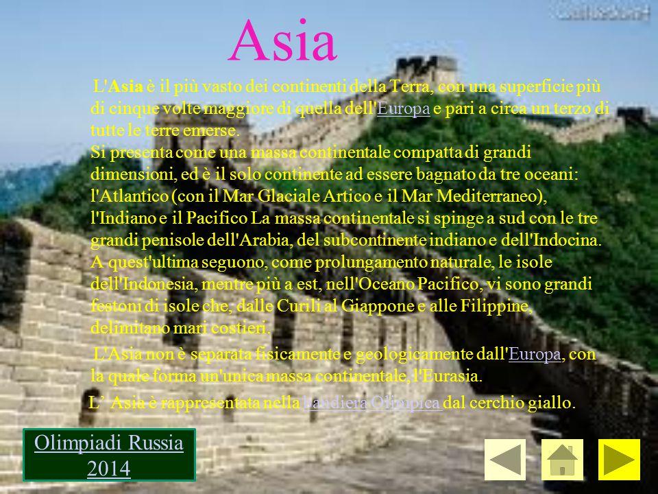 Asia L'Asia è il più vasto dei continenti della Terra, con una superficie più di cinque volte maggiore di quella dell'Europa e pari a circa un terzo d