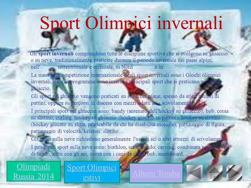 Sport Olimpici invernali Gli sport invernali comprendono tutte le discipline sportive che si svolgono su ghiaccio o su neve, tradizionalmente praticat