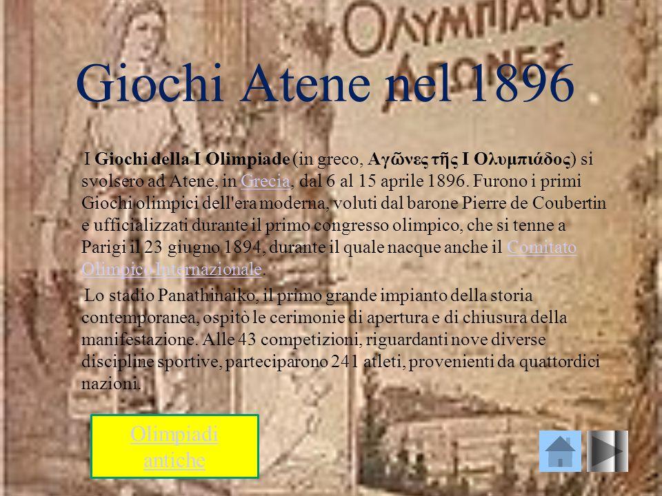 Giochi Atene nel 1896 I Giochi della I Olimpiade (in greco, Αγ νες τ ς Ι Ολυμπιάδος) si svolsero ad Atene, in Grecia, dal 6 al 15 aprile 1896. Furono