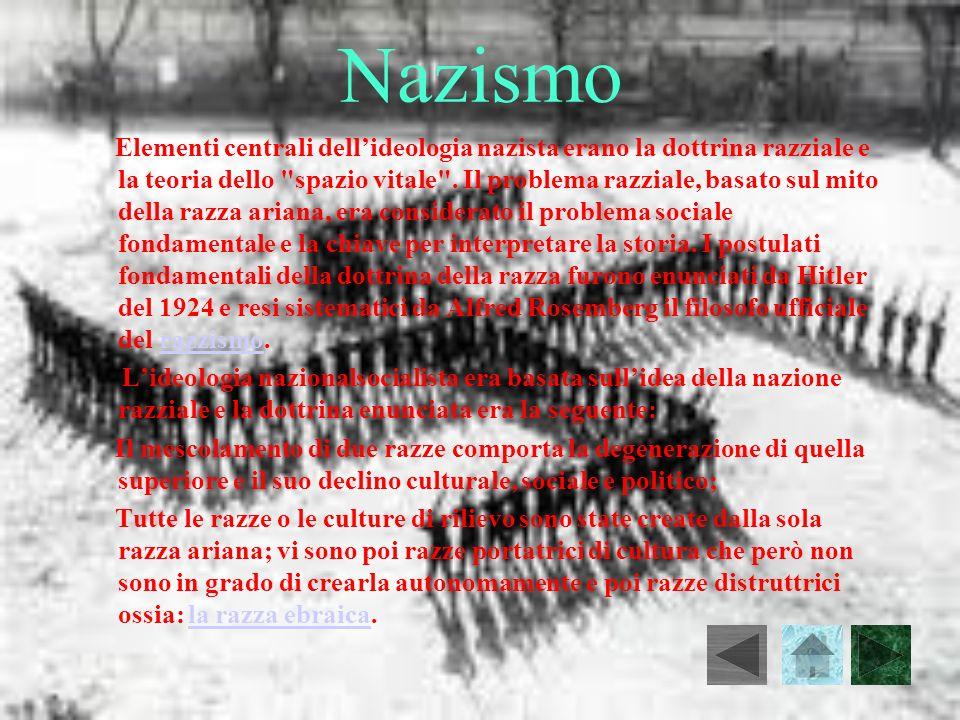 Nazismo Elementi centrali dellideologia nazista erano la dottrina razziale e la teoria dello