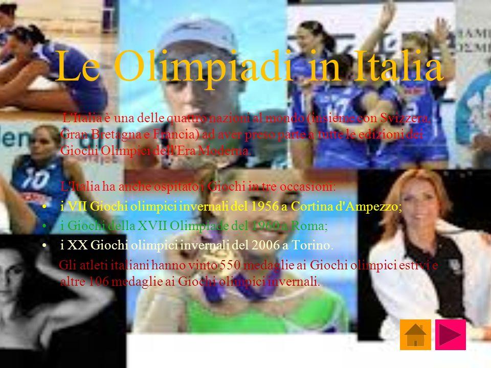 Le Olimpiadi in Italia L'Italia è una delle quattro nazioni al mondo (insieme con Svizzera, Gran Bretagna e Francia) ad aver preso parte a tutte le ed