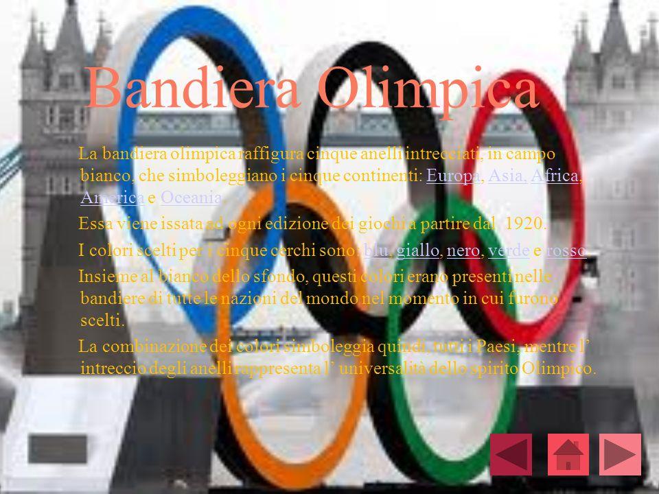 Bandiera Olimpica La bandiera olimpica raffigura cinque anelli intrecciati, in campo bianco, che simboleggiano i cinque continenti: Europa, Asia, Afri