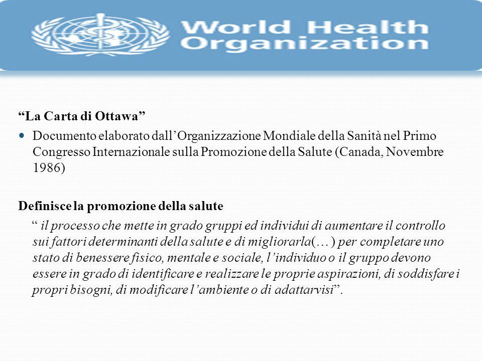 La Carta di Ottawa Documento elaborato dallOrganizzazione Mondiale della Sanità nel Primo Congresso Internazionale sulla Promozione della Salute (Cana