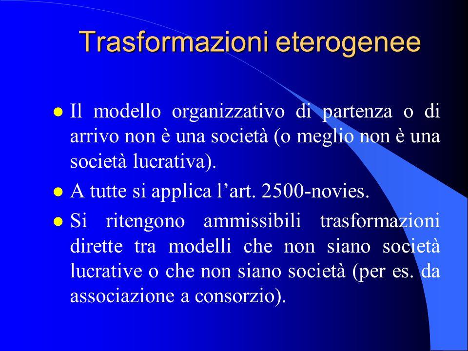 Trasformazioni eterogenee l Il modello organizzativo di partenza o di arrivo non è una società (o meglio non è una società lucrativa). l A tutte si ap