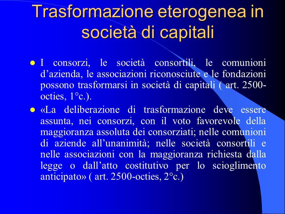 Trasformazione eterogenea in società di capitali l I consorzi, le società consortili, le comunioni dazienda, le associazioni riconosciute e le fondazi