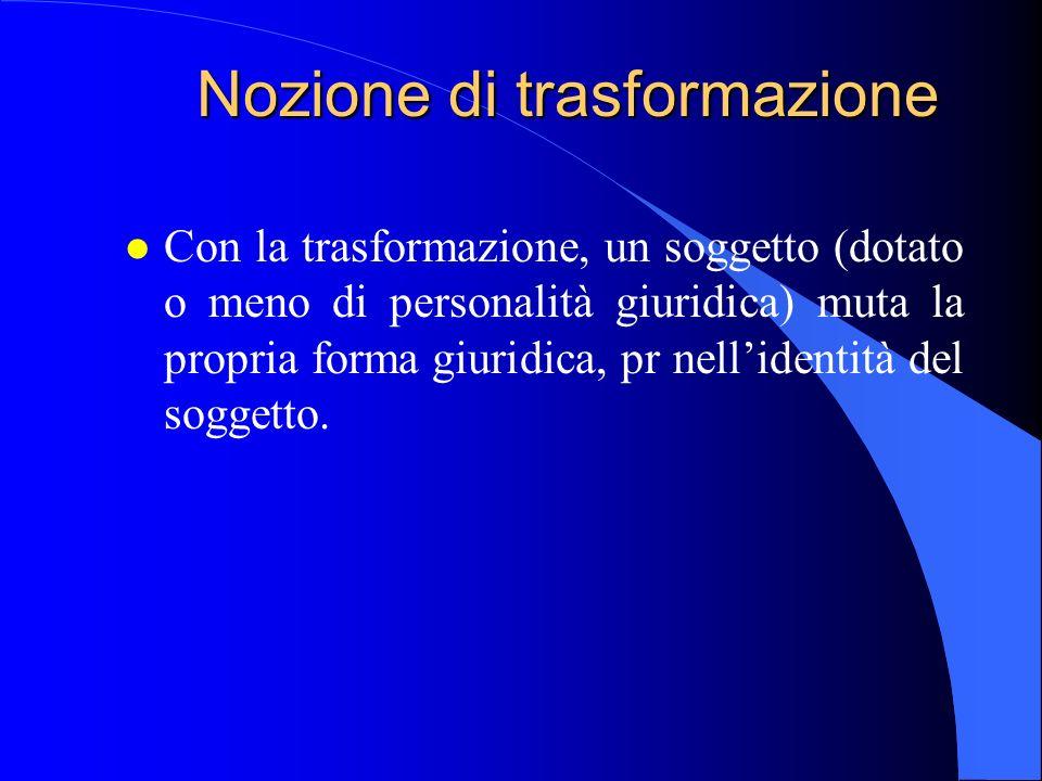 Nozione di trasformazione l Con la trasformazione, un soggetto (dotato o meno di personalità giuridica) muta la propria forma giuridica, pr nellidenti