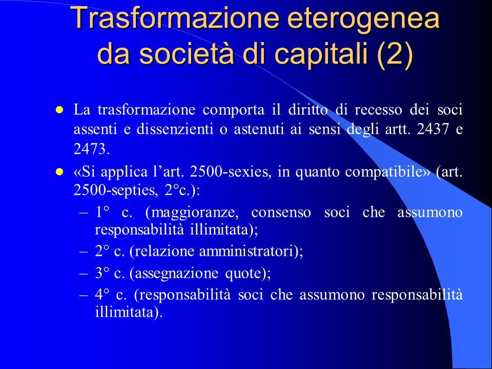 Trasformazione eterogenea da società di capitali (2) l La trasformazione comporta il diritto di recesso dei soci assenti e dissenzienti o astenuti ai