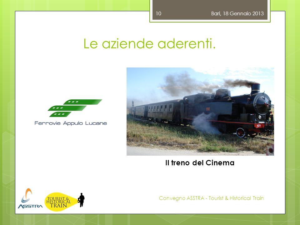 Le aziende aderenti. Bari, 18 Gennaio 2013 Convegno ASSTRA - Tourist & Historical Train 10 Il treno del Cinema