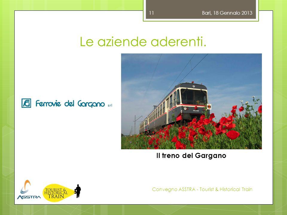 Le aziende aderenti. Bari, 18 Gennaio 2013 Convegno ASSTRA - Tourist & Historical Train 11 Il treno del Gargano