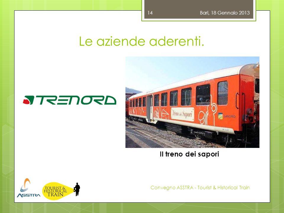 Le aziende aderenti. Bari, 18 Gennaio 2013 Convegno ASSTRA - Tourist & Historical Train 14 Il treno dei sapori