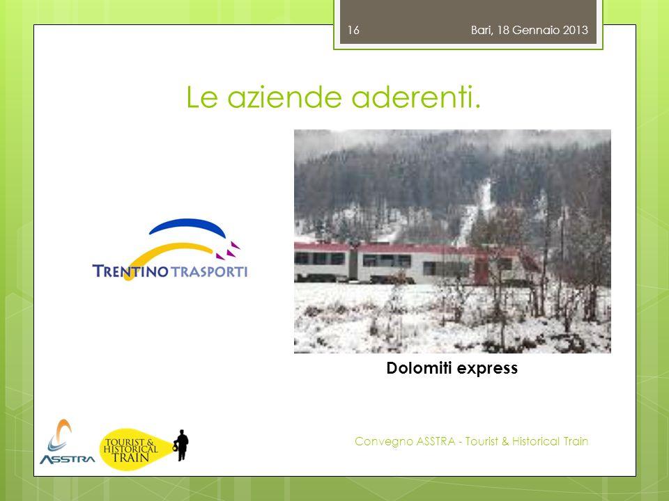 Le aziende aderenti. Bari, 18 Gennaio 2013 Convegno ASSTRA - Tourist & Historical Train 16 Dolomiti express