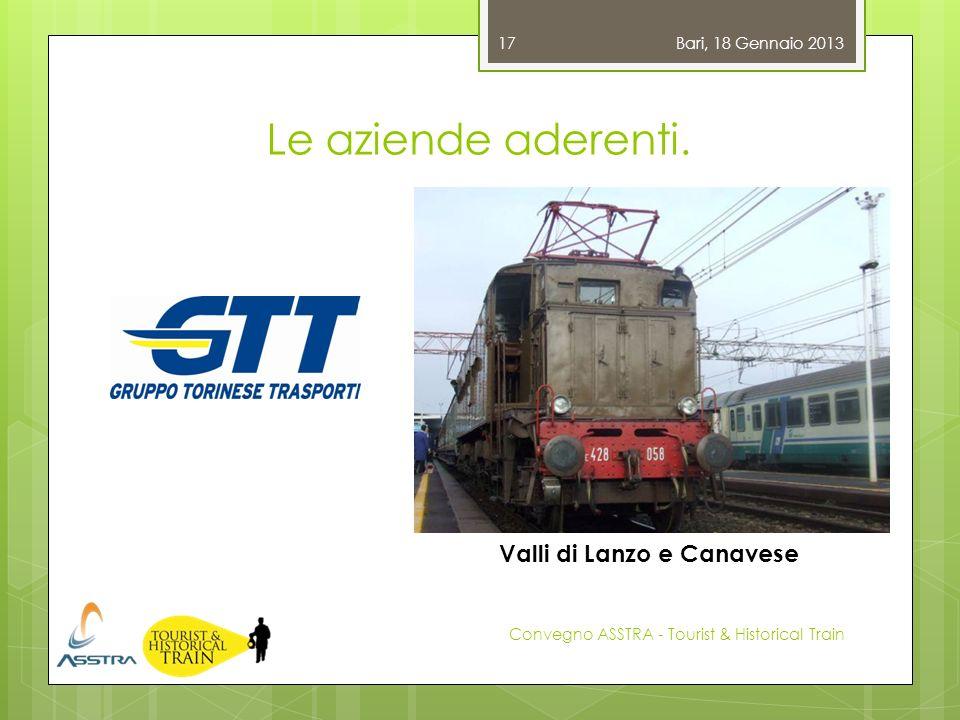 Le aziende aderenti. Bari, 18 Gennaio 2013 Convegno ASSTRA - Tourist & Historical Train 17 Valli di Lanzo e Canavese