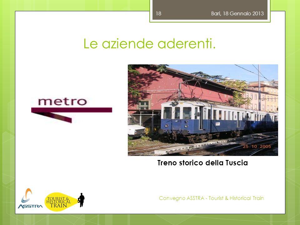 Le aziende aderenti. Bari, 18 Gennaio 2013 Convegno ASSTRA - Tourist & Historical Train 18 Treno storico della Tuscia