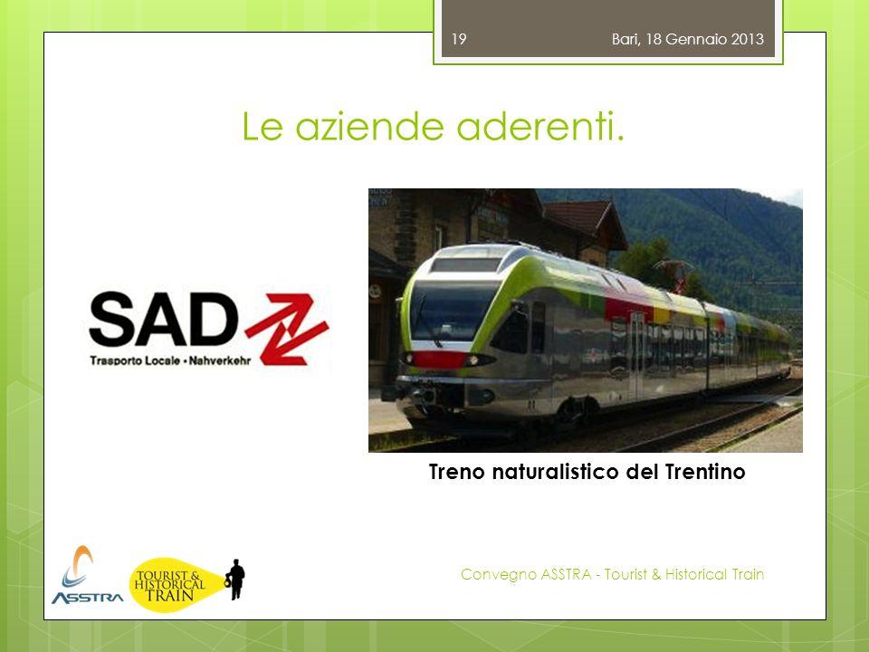 Le aziende aderenti. Bari, 18 Gennaio 2013 Convegno ASSTRA - Tourist & Historical Train 19 Treno naturalistico del Trentino
