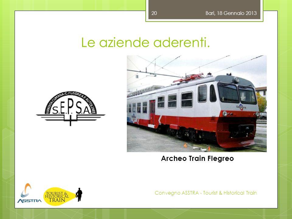 Le aziende aderenti. Bari, 18 Gennaio 2013 Convegno ASSTRA - Tourist & Historical Train 20 Archeo Train Flegreo