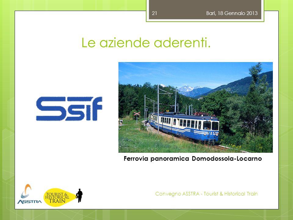 Le aziende aderenti. Bari, 18 Gennaio 2013 Convegno ASSTRA - Tourist & Historical Train 21 Ferrovia panoramica Domodossola-Locarno
