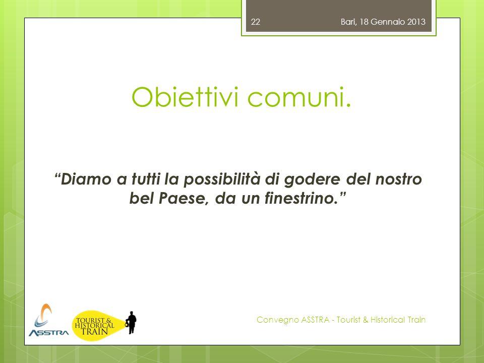 Obiettivi comuni. Diamo a tutti la possibilità di godere del nostro bel Paese, da un finestrino. Bari, 18 Gennaio 2013 Convegno ASSTRA - Tourist & His