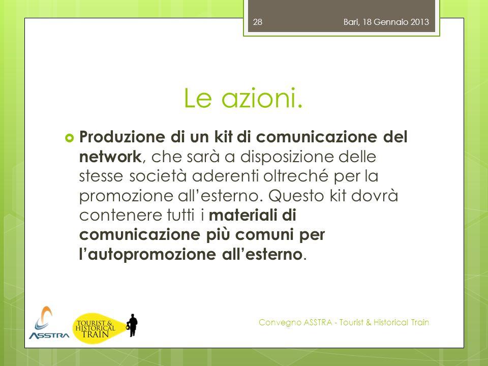 Le azioni. Produzione di un kit di comunicazione del network, che sarà a disposizione delle stesse società aderenti oltreché per la promozione alleste