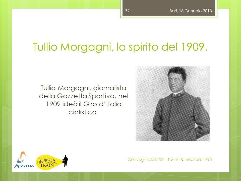 Tullio Morgagni, lo spirito del 1909. Bari, 18 Gennaio 2013 Convegno ASSTRA - Tourist & Historical Train 32 Tullio Morgagni, giornalista della Gazzett