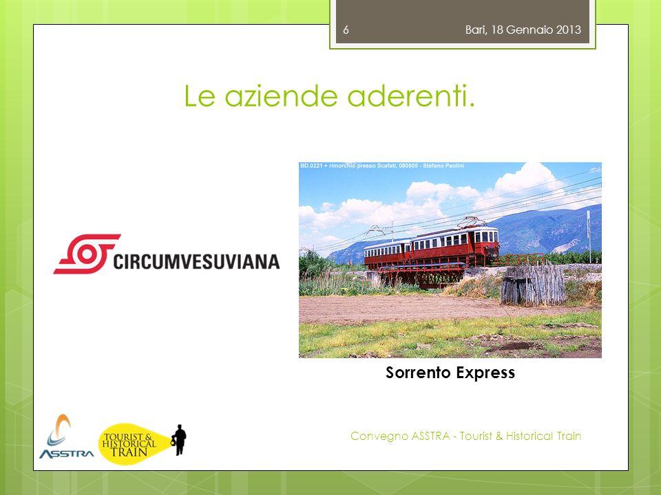 Le aziende aderenti. Bari, 18 Gennaio 2013 Convegno ASSTRA - Tourist & Historical Train 6 Sorrento Express