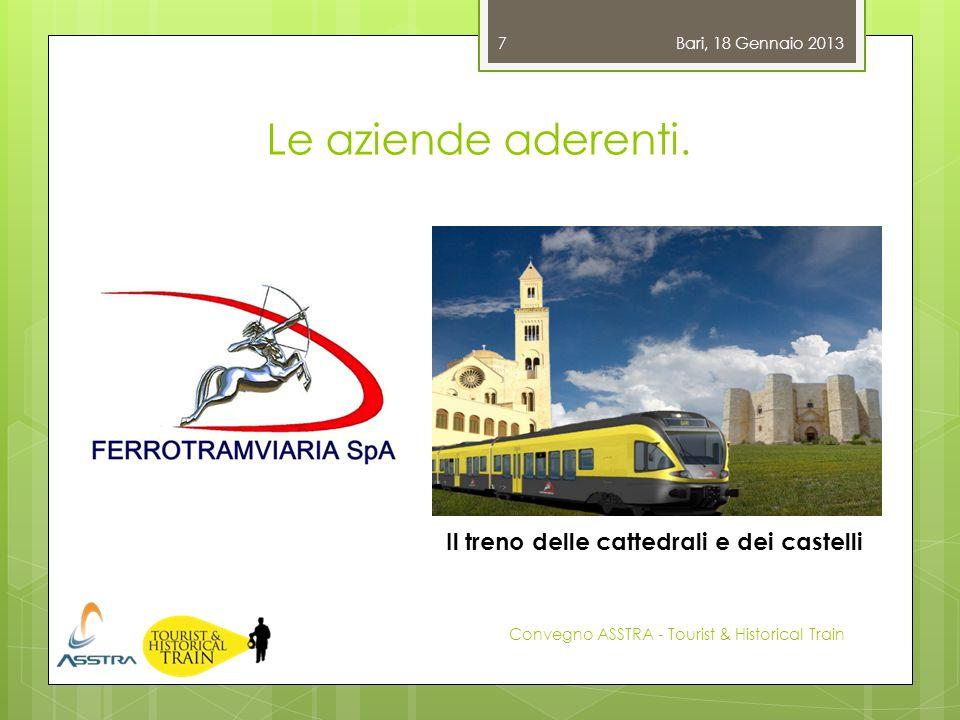 Le aziende aderenti. Bari, 18 Gennaio 2013 Convegno ASSTRA - Tourist & Historical Train 7 Il treno delle cattedrali e dei castelli