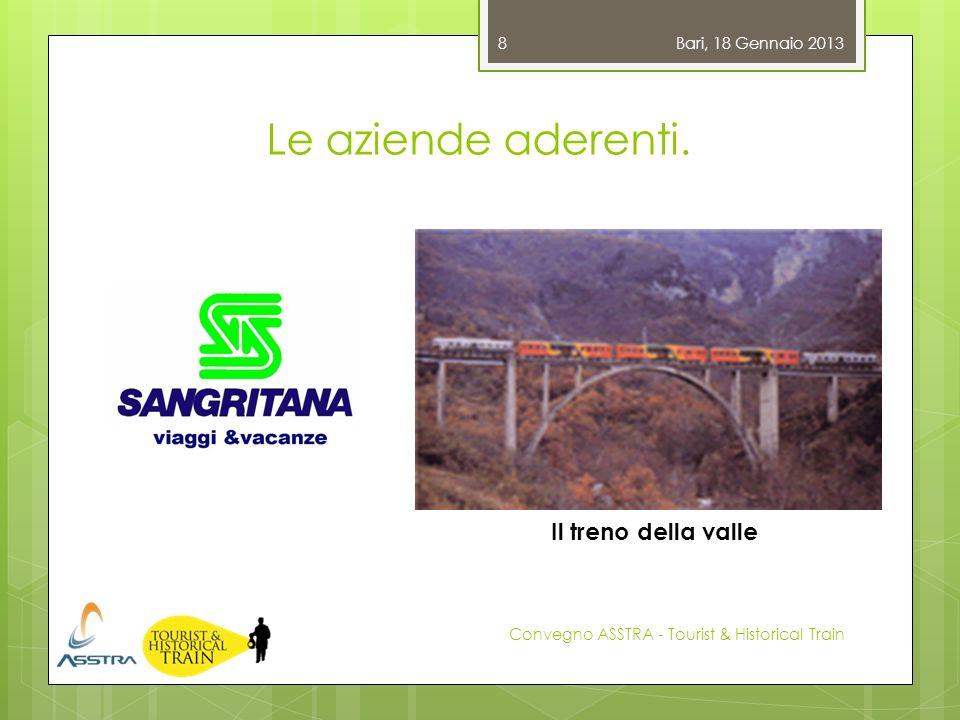 Le aziende aderenti. Bari, 18 Gennaio 2013 Convegno ASSTRA - Tourist & Historical Train 8 Il treno della valle