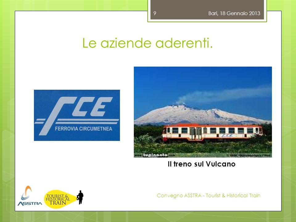 Le aziende aderenti. Bari, 18 Gennaio 2013 Convegno ASSTRA - Tourist & Historical Train 9 Il treno sul Vulcano