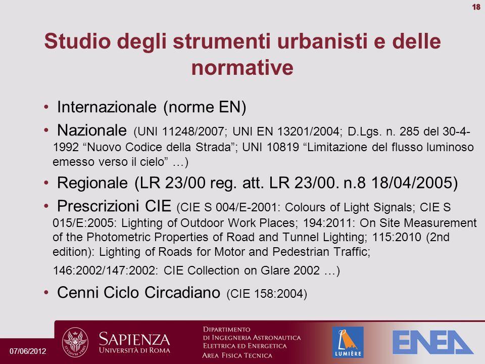 Internazionale (norme EN) Nazionale (UNI 11248/2007; UNI EN 13201/2004; D.Lgs.