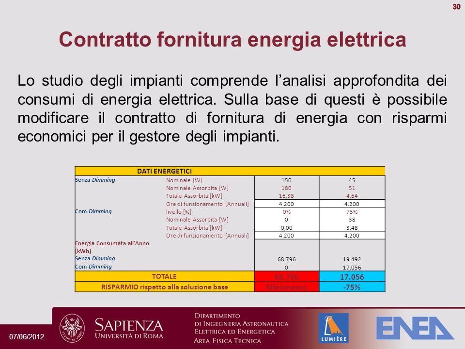 Contratto fornitura energia elettrica Lo studio degli impianti comprende lanalisi approfondita dei consumi di energia elettrica.
