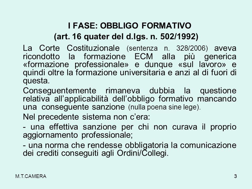 M.T.CAMERA33 I FASE: OBBLIGO FORMATIVO (art.16 quater del d.lgs.