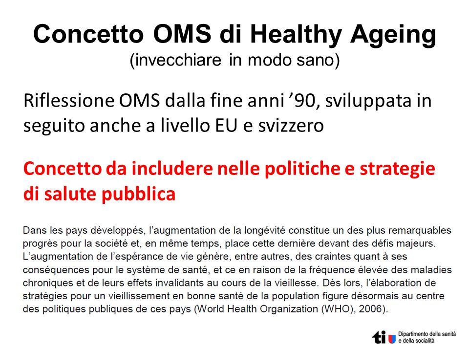 Concetto OMS di Healthy Ageing (invecchiare in modo sano) Riflessione OMS dalla fine anni 90, sviluppata in seguito anche a livello EU e svizzero Conc