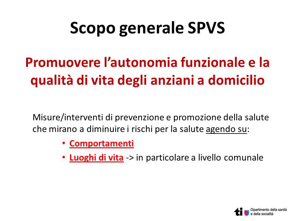 Scopo generale SPVS Promuovere lautonomia funzionale e la qualità di vita degli anziani a domicilio Misure/interventi di prevenzione e promozione dell