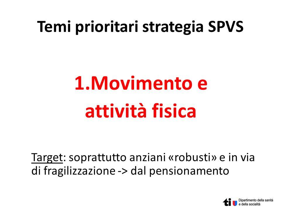 Temi prioritari strategia SPVS 1.Movimento e attività fisica Target: soprattutto anziani «robusti» e in via di fragilizzazione -> dal pensionamento