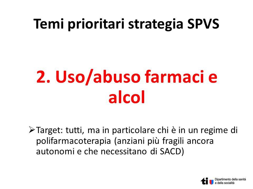 Temi prioritari strategia SPVS 2. Uso/abuso farmaci e alcol Target: tutti, ma in particolare chi è in un regime di polifarmacoterapia (anziani più fra