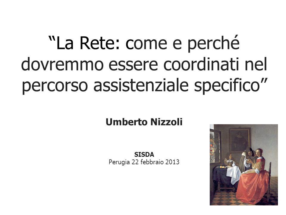 La Rete: come e perché dovremmo essere coordinati nel percorso assistenziale specifico Umberto Nizzoli SISDA Perugia 22 febbraio 2013