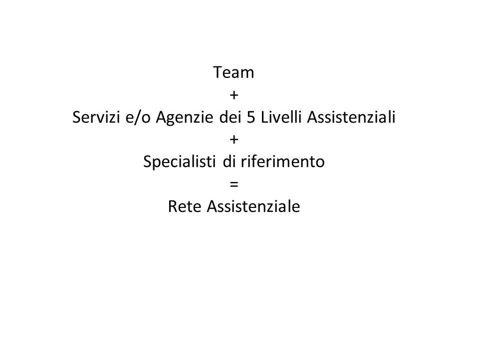 Team + Servizi e/o Agenzie dei 5 Livelli Assistenziali + Specialisti di riferimento = Rete Assistenziale