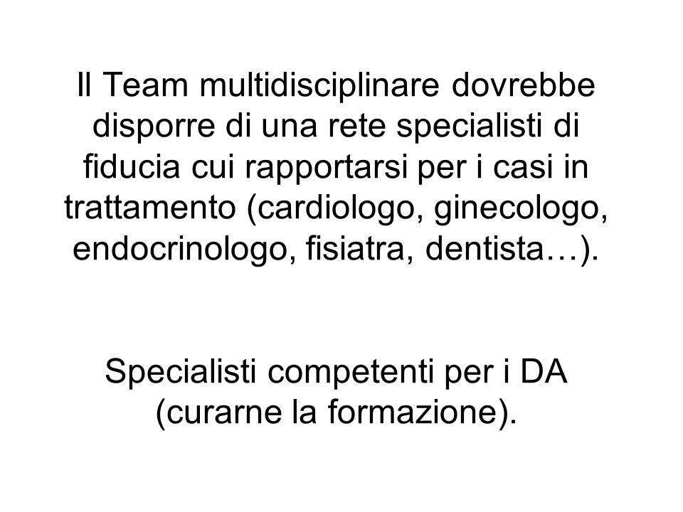 Il Team multidisciplinare dovrebbe disporre di una rete specialisti di fiducia cui rapportarsi per i casi in trattamento (cardiologo, ginecologo, endo