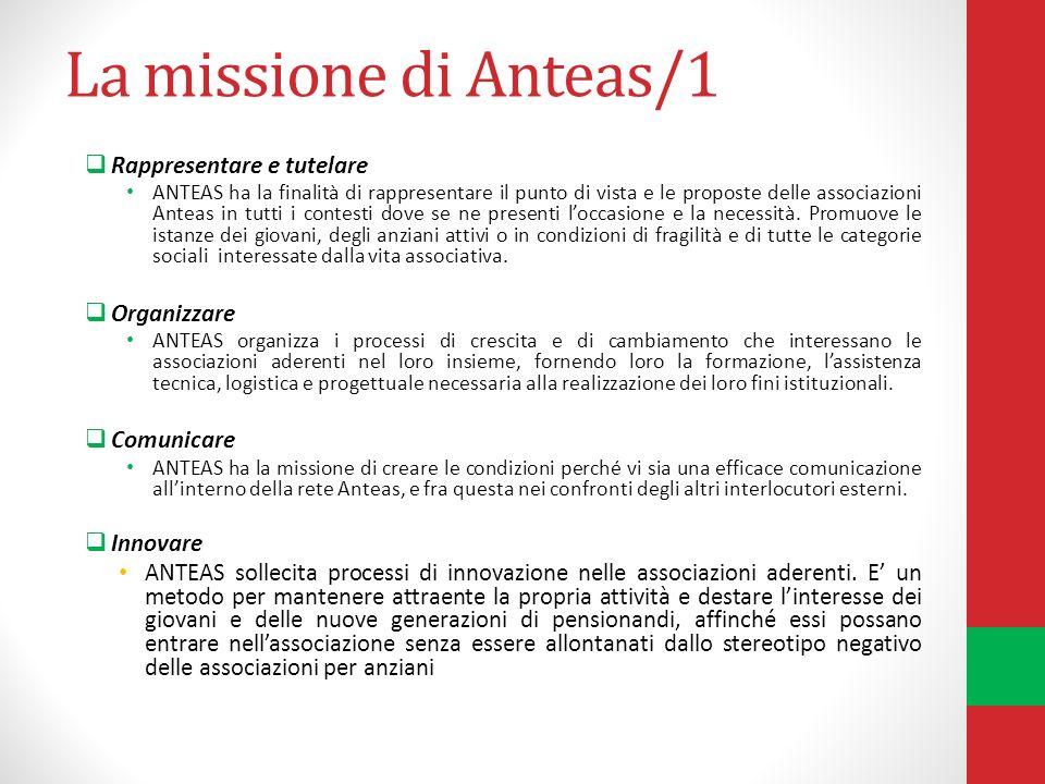La missione di Anteas/1 Rappresentare e tutelare ANTEAS ha la finalità di rappresentare il punto di vista e le proposte delle associazioni Anteas in tutti i contesti dove se ne presenti loccasione e la necessità.