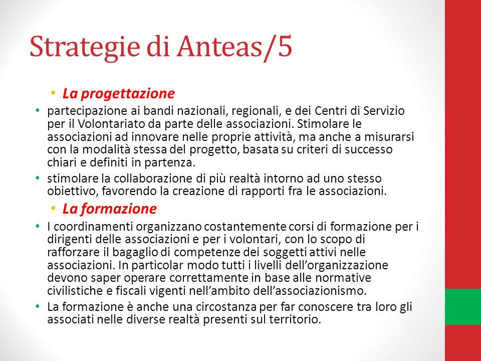 Strategie di Anteas/5 La progettazione partecipazione ai bandi nazionali, regionali, e dei Centri di Servizio per il Volontariato da parte delle associazioni.