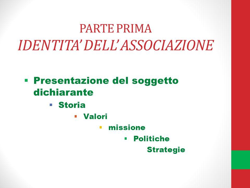 PARTE PRIMA IDENTITA DELL ASSOCIAZIONE Presentazione del soggetto dichiarante Storia Valori missione Politiche Strategie
