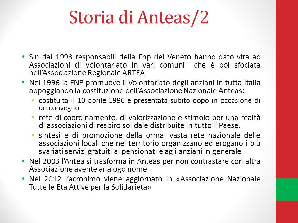 Storia di Anteas/2 Sin dal 1993 responsabili della Fnp del Veneto hanno dato vita ad Associazioni di volontariato in vari comuni che è poi sfociata nellAssociazione Regionale ARTEA Nel 1996 la FNP promuove il Volontariato degli anziani in tutta Italia appoggiando la costituzione dellAssociazione Nazionale Anteas: costituita il 10 aprile 1996 e presentata subito dopo in occasione di un convegno rete di coordinamento, di valorizzazione e stimolo per una realtà di associazioni di respiro solidale distribuite in tutto il Paese.