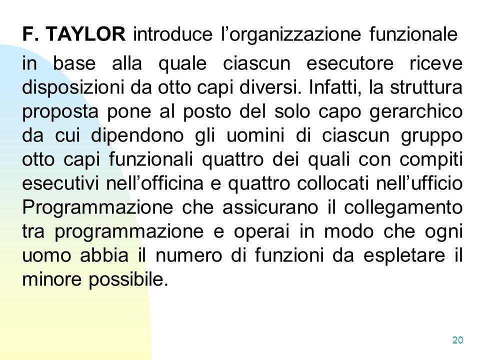 F. TAYLOR introduce lorganizzazione funzionale in base alla quale ciascun esecutore riceve disposizioni da otto capi diversi. Infatti, la struttura pr